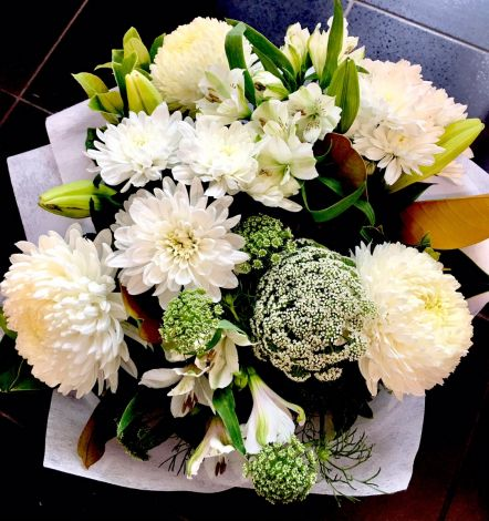 Greens and White Bouquet